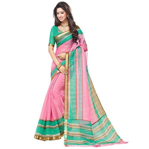 Jari Mira Pink Vasundra Silk Saree