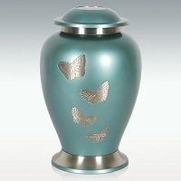 Extra Large Butterfly Gathering Brass Cremation Urn Engravable