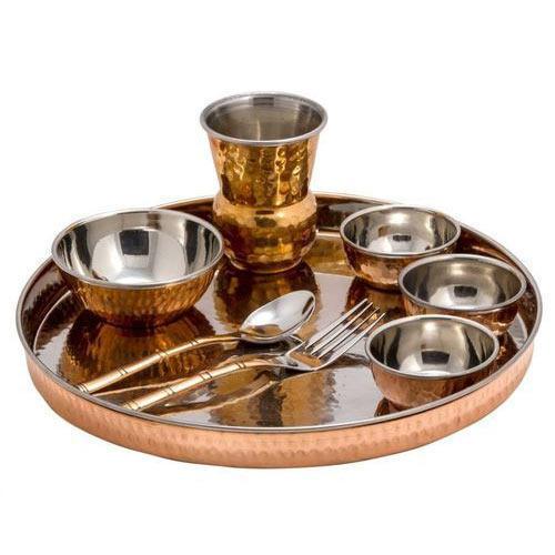 Copper Steel Thali Set
