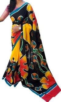 Hand Print Linen Saree