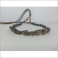 Natural Smoky Quartz Faceted Nuggets Beads Necklace 15 Inches Long