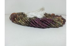 Natural Tundro Multi Garnet Faceted Rondelle Beads Strand 3.5-4mm