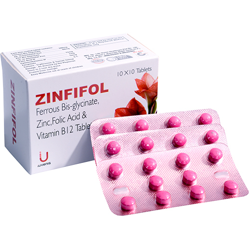 Ferrous Bis Glycinate, Zinc, Folic Acid And Vitamin B12 Tablets