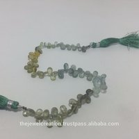 Natural Moss Aquamarine Multi Plain Pear Briolette Beads Gemstone