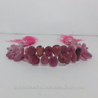 Natural Ruby Gemstone Faceted Pears Briolette Bead