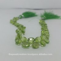 Natural Green Peridot Gemstone Heart Shaped Briolette
