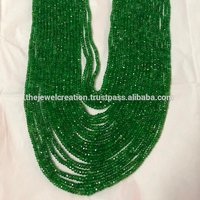 Natural Green Garnet Faceted Rondelle Gemstone Beads