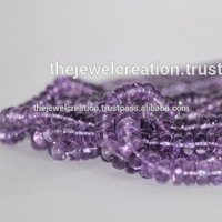 Natural Amethyst Plain Rondelle Loose Beads Strand