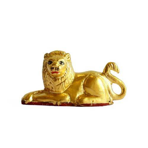 Gold Plated Leafing Lion Statue