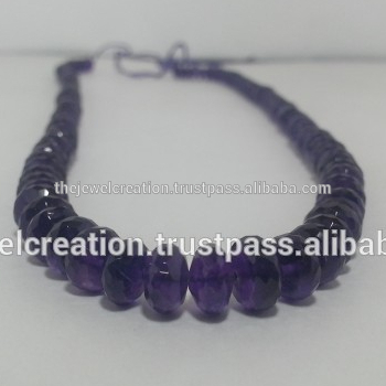 Natural African Amethyst Gemstone Faceted Rondelle Loose Beads