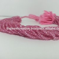 AAA Natural Pink Topaz Gemstone Faceted Rondelle Beads