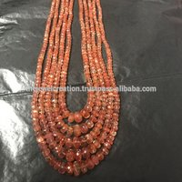 AAA Sunstone Faceted Rondelle Gemstone Bead Strands
