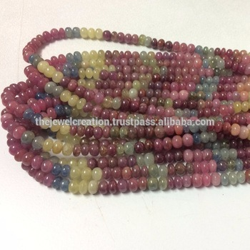 Natural Multi Sapphire Plain Smooth Rondelle Beads Strand Lot