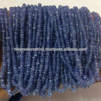 Natural AAA Tanzanite Stone Smooth Plain Rondelle Gemstone Beads Lot