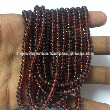Natural Mozambique Red Garnet Stone Smooth Plain Rondelle Gemstone Beads Lot