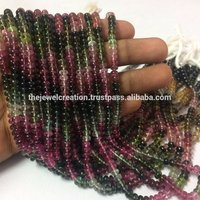 Natural Multi Watermelon Tourmaline Stone Plain Smooth Rondelle Bead