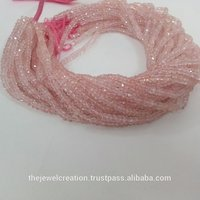 Natural Pink Morganite Faceted Rondelle Beads Strand