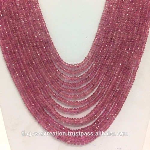 Natural AAA Pink Tourmaline Faceted Rondelle Beads Necklace