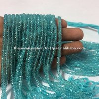 Natural Blue Apatite Faceted Rondelle Wholesale Gemstone Beads at Best Price
