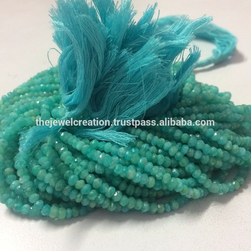 Natural Amazonite Gemstone Faceted Rondelle Beads at Wholesale Price