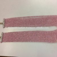 100% Natural Pink Morganite Gemstone Faceted Rondelle Beads Strand