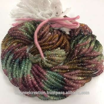 Natural AAA Multi Tourmaline Faceted Rondelle Beads Strand