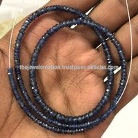 Natural Blue Sapphire Pailin Gemstone Beads Faceted Rondelle Jaipur