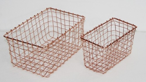 Copper Finish Basket Metal Wire Basket