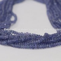 Natural Tanzanite Plain Smooth Rondelle Beads Strand