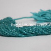 Natural AAA Blue Apatite Faceted Rondelle Beads