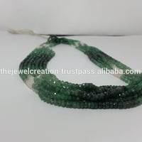 Natural Emerald Stone Shaded Faceted Rondelle Beads