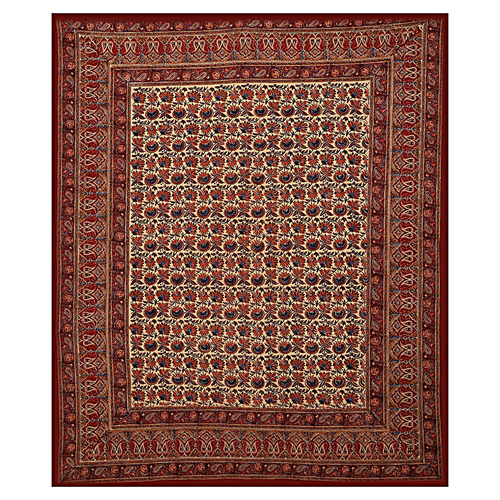 Bhagru Mutty Block Printed Indian Handmade Brown Color Bedsheet Bedspread Floral Rajasthani Tapestry