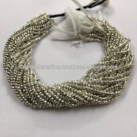 3mm Silver Pyrite Faceted Rondelle Beads