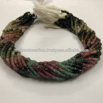 Natural Watermelon Tourmaline Faceted Rondelle Beads 4mm