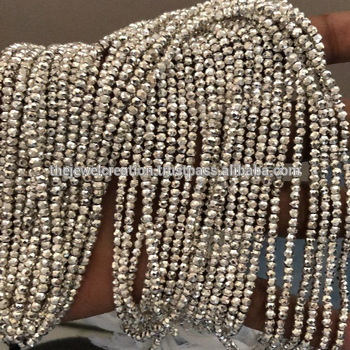 4mm Silver Pyrite Faceted Rondelle Beads Strand Wholesale Price