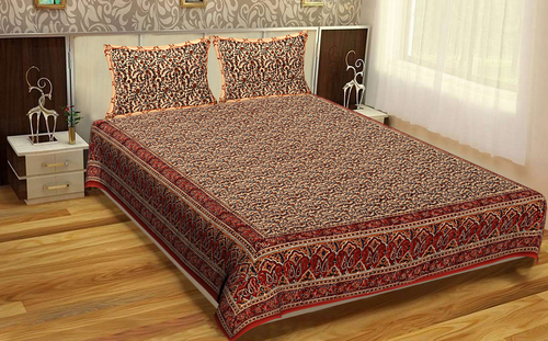 Bedsheet Bedspread Floral Rajasthani Traditional Indian Bhagru Mutty Block Printed Handmade Brown Color Tapestry