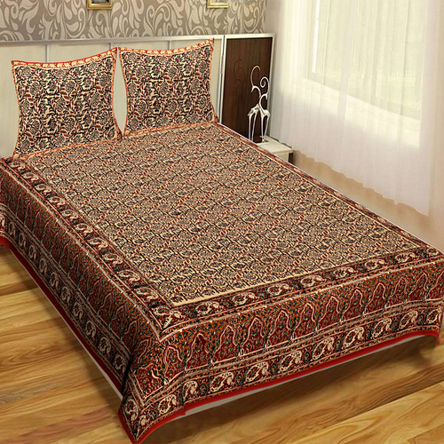 100% Cotton Indian Bagru Mutty Block Printed Handmade Fabric Brown Color Bedsheet Bedspread Floral Rajasthani Tapestry