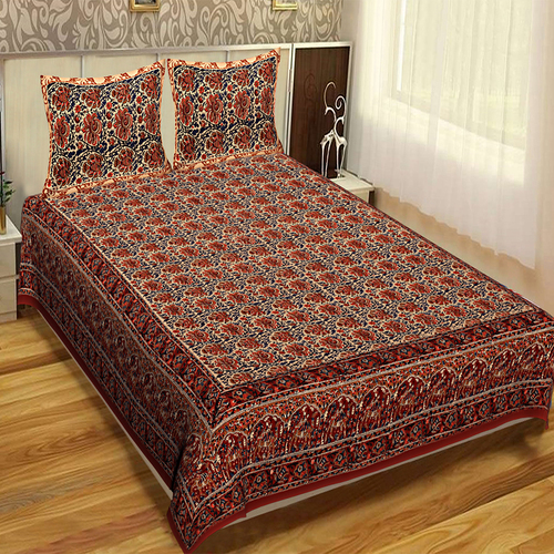 Tapestry Bedspread Floral RajasthaniIndian Hand print Bagru Mutty Block Printed Handmade Brown Color Cotton Fabric Bed sheet