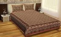 Block Printed Indian Bagru Mutty Handmade Brown Color Bedsheet Bedspread Floral Rajasthani Tapestry