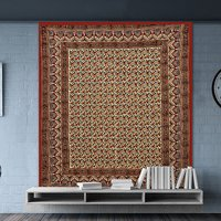 Block Printed Indian Bagru Mutty Handmade Brown Color Bedsheet Bedspread Floral Rajasthani Tapestry