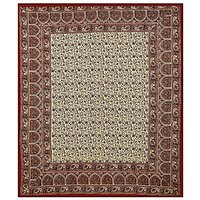 Brown Color Bed sheet Indian Bagru Mutty Block Printed Handmade Bedspread Floral Traditional Queen Size Rajasthani Tapestry