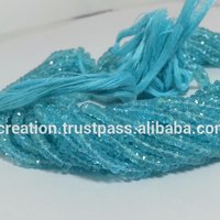 Natural Blue Apatite Faceted Rondelle Beads