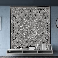Hamsa Hand Printed Handmade Indian Cotton Bedspread Wholesale Bed Sheet Home Decor Tapestry