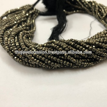 Natural Pyrite Micro Faceted Rondelle Beads 3mm