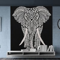 Elephant Printed Handmade Hand Printed Wall Hangings Indian Black & White Home Decor Tapestry