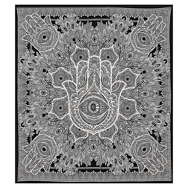 Hamsa Hand Printed Handmade Indian Cotton Bedspread