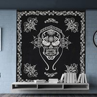 Indian Black & White Halloween Skull Scary Hippie Boho Chic Bohemian Hippy Psychedelic Design Printed Tapestry