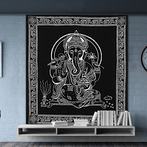 Traditional Religious Ganesha Wall Hangings Indian Cotton Hand Printed Bedspread Bed Sheet Tapestry