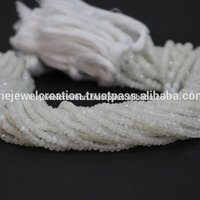 Natural AAA White Moonstone Faceted Rondelle Beads