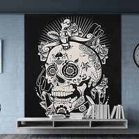 Halloween Skull & Rose Wall Hangings Beach Throw Bedspread Indian Cotton Bed Sheet Cotton Tapestry